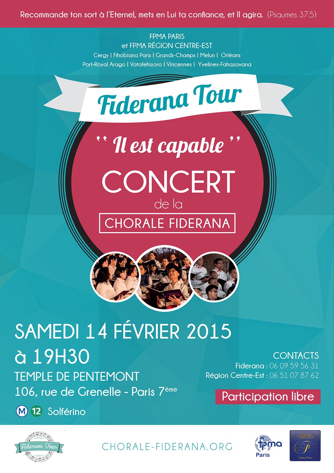 Affiche de la tournée de la chorale Fiderana