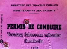 Permis de conduire malgache délivré par le ministère des travaux publics de Madagascar